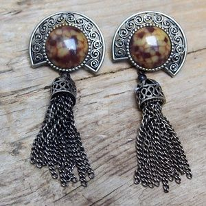 Faux Stone Ornate Tassel Earrings